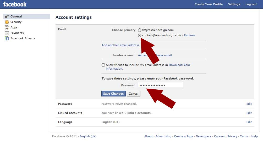 Change Facebook Email Address of Your Facebook Fan Page or Profile ...