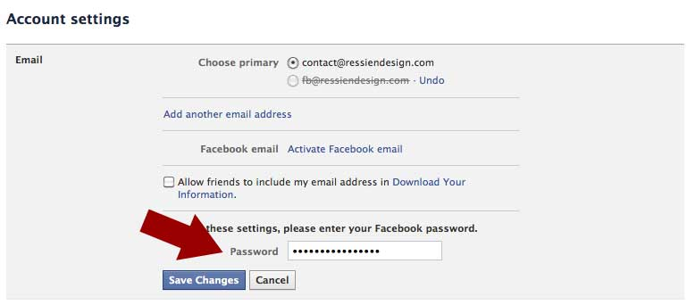 How can i remove email address from facebook